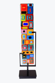 Sentinel: Helen Rudy: Art Glass Sculpture - Artful Home Glass Wall Art, Fused Glass Art, Stained Glass Art, Mosaic Glass, Glass Vase, Stained Glass Ornaments, Glass Texture, Texture Art, Malm