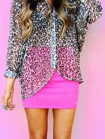 A new way to wear my beloved sheer leopard top...time to find a hot pink skirt!