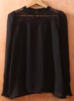 Black Round Neck Long Sleeve Lace Chiffon Blouse