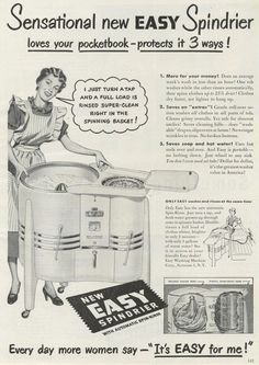 1949 AD Spindrier Clothes Washing Machine Laundry Less Dry Art~ORIGINAL ADVERT