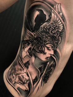 Dario Castillo > Valkyrie #tattoo #ink #art Viking Tattoos For Men, Tattoos For Women Half Sleeve, Best Sleeve Tattoos, Body Art Tattoos, Girl Tattoos, Tattoos For Guys, Tattoo Ink, Phoenix Tattoo Girl, Hand Palm Tattoos