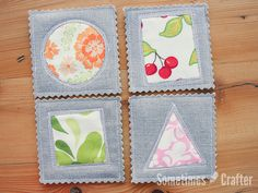 """I made some of these formy friend for her birthday. They are so quick and easy! Directions 1. Cut out your fabric for the top and bottom, and a piece of batting to sandwich between, 4"""" square. …"""