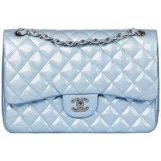 Preowned Chanel Sky Blue Quilted Iridescent Patent Leather Jumbo... (€3.485) ❤ liked on Polyvore featuring bags, handbags, blue, structured shoulder bags, chanel purse, structured purse, blue patent leather purse, sky blue handbag and chanel handbags