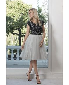 Semi-Formal Gown, Short, Belt Attached, Tulle Skirt, Lace Bodice
