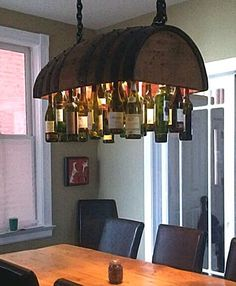 Wine light from barrel...would be cool over a pool table. or a pot holder in the kitchen {wineglasswriter.com}