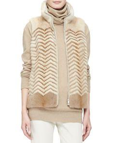 B2T1T Loro Piana Chevron Striped Mink Fur Vest