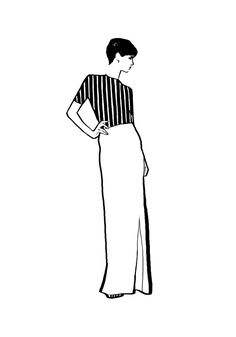 Fashion illustration - elegant dress with striped top; black and white fashion drawing // Judith van den Hoek