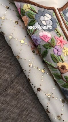 Dress Design Patterns, Hand Embroidery Design Patterns, Fancy Dress Design, Hand Embroidery Videos, Hand Embroidery Flowers, Embroidery Suits Design, Hand Work Embroidery, Stylish Dress Designs, Flower Embroidery Designs