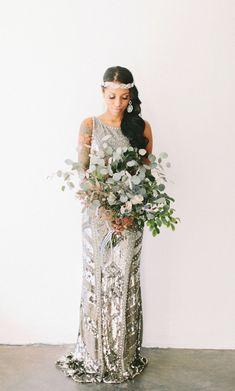 chic modern industrial wedding inspiration with a modern glam silver wedding dress