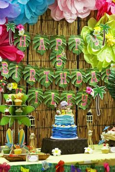 Hawaiian luau birthday party! See more party planning ideas at CatchMyParty.com!