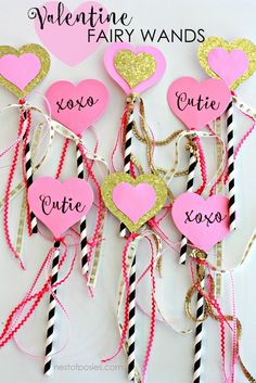 These Valentine DIY Fairy Wands will be a sure hit with the little girls. The DIY Fairy Wands are easy and cheap to make and are great for Valentine's Day. Valentines Day Activities, Valentines Day Party, Valentine Day Love, Valentines Day Decorations, Valentines For Kids, Valentine Day Crafts, Holiday Crafts, Valentine Ideas, Holiday Ideas