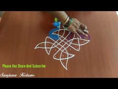 Simple And Easy Kambi Kolam With peacock. Rangoli Border Designs, Rangoli Designs Diwali, Kolam Rangoli, Kolam Designs, Rangoli Borders, Simple Rangoli, Peacock, Make It Yourself, Chain
