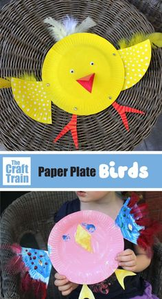 Easy paper plate bird craft for kids. This is a fun Spring craft for preschoolers and older kids alike and is easy to put together. Toilet Paper Crafts, Paper Plate Crafts For Kids, Animal Crafts For Kids, Fun Crafts For Kids, Craft Activities For Kids, Toddler Crafts, Craft Kids, Train Crafts Preschool, Kindergarten Crafts