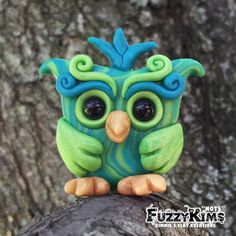 Polymer Clay Owl Green Blue - Cake Toppers, Jewelry Pendants, Ornaments, Figurines, Characters, Sculptures, Miniatures - Cute Collectible Whimsical - Kimmie's Clay Kreations