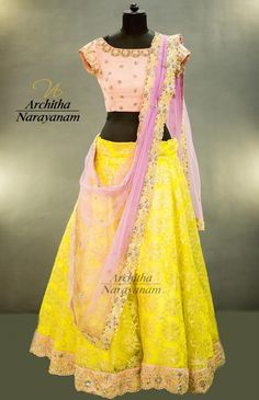 A blast from our   orbofnight collection ! Beautiful yellow lehenga and pink color blouse with pink net duppata. 21 June 2017