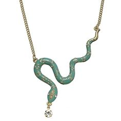 Jennifer Lopez Gold Tone Simulated Crystal Snake Necklace ($28) ❤ liked on Polyvore featuring jewelry, necklaces, artificial jewelry, imitation jewelry, jennifer lopez, fake jewelry and imitation jewellery