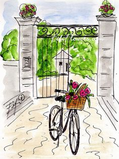 Chateau du Portail Bicycle by Fifi Flowers on Etsy, $25.00