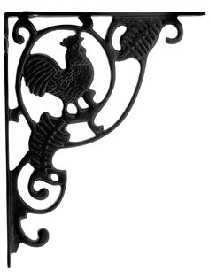 "Rooster Cast Iron Shelf Bracket - 10 3/16"" x 8"" 