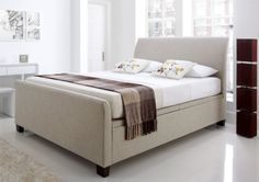 New Kaydian Allendale Upholstered Ottoman Storage Bed - Oatmeal Fabric