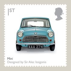 Royal Mail - British Design Classics Stamp, The Mini, 2009 Mini Cooper S, Classic Mini, Classic Cars, Classic Auto, Classic Style, Royal Mail Stamps, Postage Stamp Art, Minis, Great British
