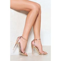 Nasty Gal A Heel Out of Line Metallic Heel ($28) ❤ liked on Polyvore featuring shoes, rose gold, high heel stilettos, strappy shoes, heels stilettos, metallic shoes and rose gold strappy shoes