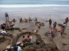 Hot Water Beach, New Zealand.  Dig yourself a hot pool on the beach, bliss