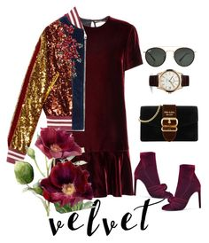"""velvet obsessed"" by selukeyho on Polyvore featuring Yves Saint Laurent, Gucci, Giuseppe Zanotti, Prada, Ray-Ban and Jaeger-LeCoultre"