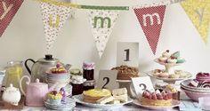 vintage tea party buffet table