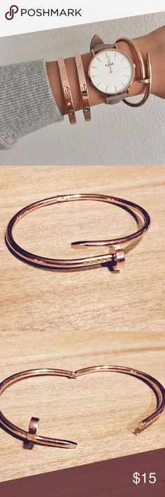 Rose Gold Nail Bracelet Metal Bangle Cuff Rose gold nail metal bracelet cuff. The clasp attaches as shown so there is no bending and twisting. Brand new with tags! On trend! Lulu's Jewelry Bracelets