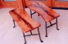 Mesquite Bench with Forged Iron Legs by MesquiteForge on Etsy, $500.00