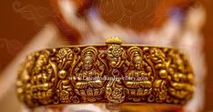 Enhance your radient beauty like goddess Lakshmi. Intricately crafted ashta lakshmi bangle in nakshi work with a screw opening is simply breathtaking. Gold Temple Jewellery, Gold Wedding Jewelry, Gold Jewelry, Gold Bracelets, Pearl Jewelry, Gold Bangles Design, Gold Jewellery Design, Gold Hair Accessories, Fashion Jewelry