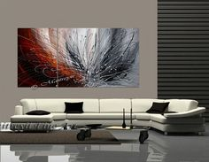72 grande ORIGINAL rouge grise peinture abstraite par largeartwork