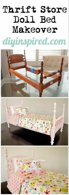 Thrift Store Doll Bed Makeover Diy Kids Furniture, Thrift Store Furniture, Doll Furniture, Flip Furniture, Thrift Store Diy Clothes, Thrift Store Crafts, Thrift Stores, Diy Dresser Makeover, Furniture Makeover