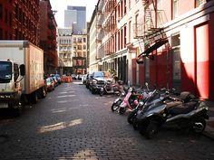 Vespas on cobblestone streets of SOHO #ridecolorfully