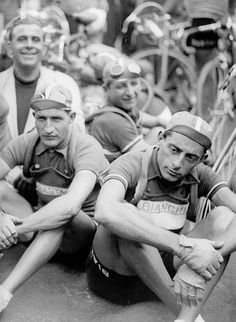 """gino_bartali__fausto_coppi Look at how stoked that guy looks in the background. He's like, """"Check me out, I'm hanging with the Fausto. Velo Vintage, Vintage Cycles, Cycling Art, Road Cycling, Gp Moto, Alpe D Huez, Cargo Bike, Bicycle Race, Old Bikes"""