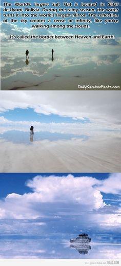 Salt flats in Bolivia during rainy season create the world's largest mirror.