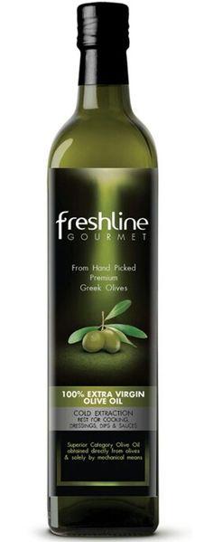 "Freshline Gourmet Extra Virgin Olive Oil in Dark Glass ""Marasca"" Bottles #AOVe #azeite #aceite #oliveoil www.bodegasmezquita.com"
