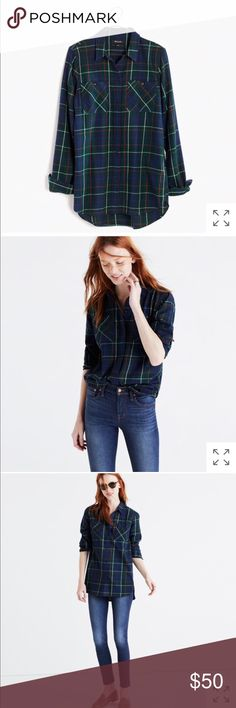 flannel ex-boyfriend shirt in ontario plaid PRODUCT DETAILS A timeless button-down shirt in a low-key plaid. Slightly oversized with ready-to-roll sleeves, this version is just right.    True to size. Cotton. Machine wash. Import. Item E4761. Madewell Tops Button Down Shirts