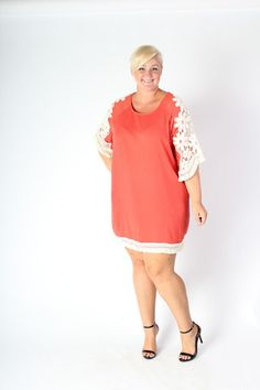 Plus Size Clothing for Women - Crochet Shift Dress - Coral (Sizes 14 - 20) - Society+ - Society Plus - Buy Online Now!
