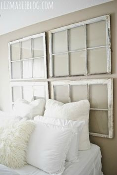 DIY:: Beautiful Vintage Window Headboard ! I am so in Love with this !!! So Easy & Cheap to create ! Tutorial by Liz Marie Blog (this entire blog is beautiful)