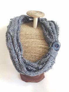 Wool necklace Blue & Grey Scarf knitted necklace blue button