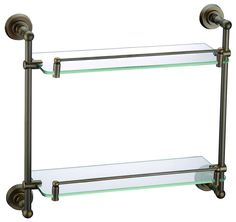 Free shipping Bronze Finish BATHROOM ACCESSORIES DOUBLE BATHROOM GLASS SHELVES