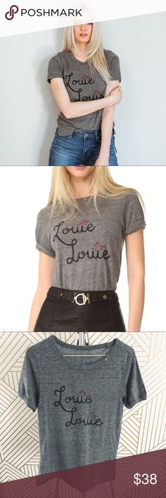 """Free People """"Louie Louie"""" Slim Fit Tee •Heathered tee that pays homage to Joan Jett.  •Size Small, slim fit.  •New without tag.  •No trades, no holds. Free People Tops Tees - Short Sleeve"""