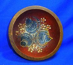 Vintage German Folk Art Tramp Art Handpainted Wood Bowl # 7