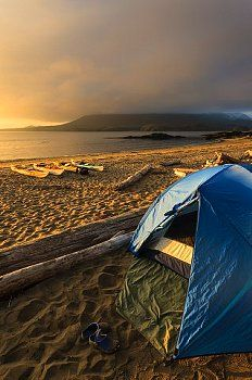 ▲ camping......A kayak camp on Vargas Island Clayoquot Sound British Columbia, Canada. Model Released