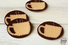 Coffee Felt Coasters Coffee Coasters Brown Felt by QuirkySewing