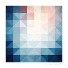 Abstract Blue Triangles Geometry Posters av art_of_sun hos AllPosters.no