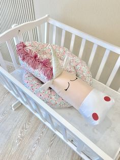Baby crib bumper FLORAL UNICORN Pillow Handmade Baby Bed