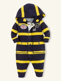 Striped Fleece Hooded Coverall