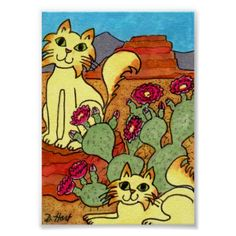 Folk Art Desert | Desert Cats & Cactus Flowers Mini Folk Art Poster | Zazzle